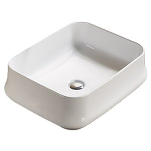 American Imaginations Rectangular Vessel Bathroom Sink - 20.9-in x 16.93-in - White