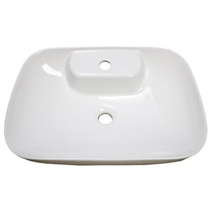 American Imaginations Vessel Bathroom Sink - Rectangular Shape - 24-in x 16.3-in - White