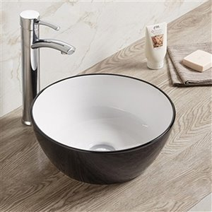 American Imaginations Round Bathroom Sink - Round Shape - 14.09-in - Black