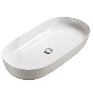 American Imaginations Oval Vessel Bathroom Sink - 32.09-in x 16.34-in - White