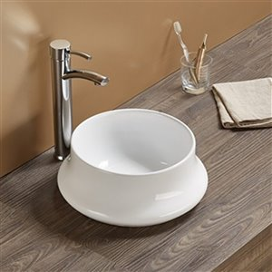 American Imaginations Vessel Bathroom Sink - Round Shape - 14.17-in x 14.17-in - White