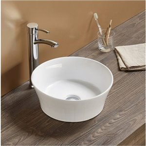 American Imaginations Round Vessel Bathroom Sink - 14.09-in - White
