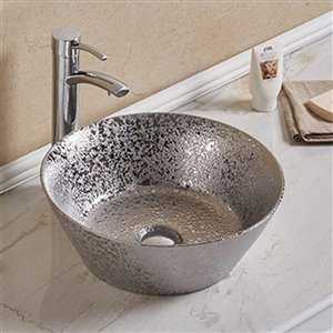 American Imaginations Vessel Bathroom Sink - Round Shape - 15.94-in - Silver