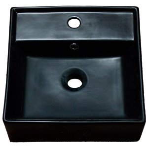 American Imaginations Vessel Bathroom Sink - Square Shape - 16.14-in - Black