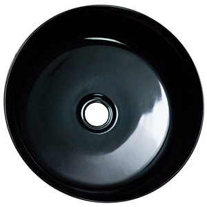 American Imaginations Round Bathroom Sink without Overflow - 14.09-in x 14.09-in - Black