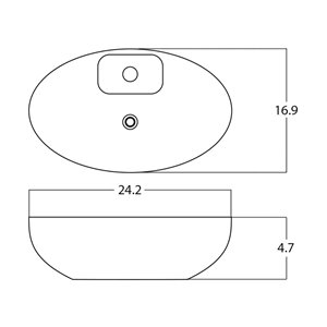 American Imaginations Vessel Bathroom Sink - Oval Shape - 24.2-in x 16.9-in - White