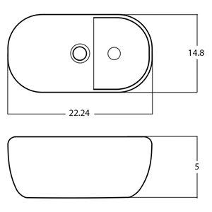 American Imaginations Vessel Bathroom Sink - Oval Shape - 16.54-in x 10.43-in - White