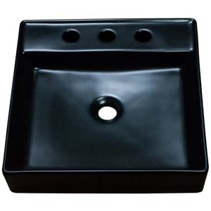 American Imaginations Vessel Bathroom Sink - Square Shape - 18.1-in x 18.1-in - Black