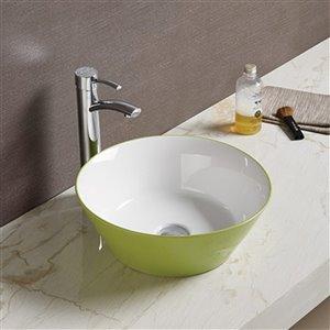 American Imaginations Vessel Bathroom Sink - Round Shape - 15.9-in x 15.9-in - Green/White