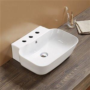 American Imaginations Rectangular Wall-Mount Bathroom Sink - 20-in x 16.14-in - White