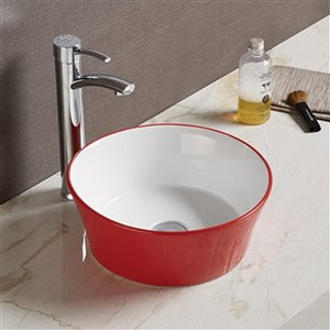 American Imaginations Round Vessel Bathroom Sink - 14.09-in x 14.09-in - Red/White