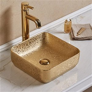 American Imaginations Vessel Bathroom Sink - Square Shape - 14.17-in x 14.17-in - Gold