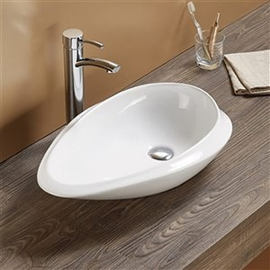 American Imaginations Vessel Bathroom Sink - Oval Shape - 24.01-in x 14.6-in - White
