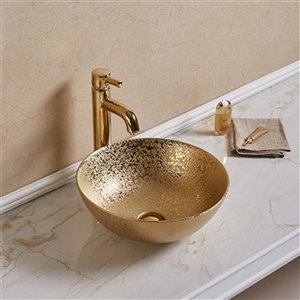 American Imaginations Vessel Bathroom Sink - Round Shape - 16.34-in x 16.34-in - Gold