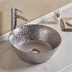 American Imaginations Vessel Bathroom Sink - Round Shape - 15.94-in x 15.94-in - Silver