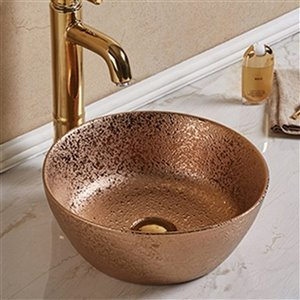 American Imaginations Bathroom Sink - Round Shape - 14.09-in - Bronze