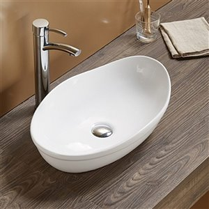 American Imaginations Vessel Bathroom Sink - Oval Shape - 20.5-in x 13-in - White