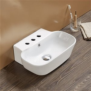 American Imaginations Rectangular Wall-Mount Bathroom Sink - 16.34-in x 12.2-in - White