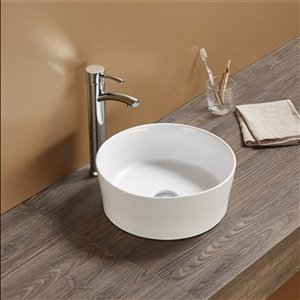 American Imaginations Vessel Bathroom Sink without Overflow - Round Shape - 14.09-in - White