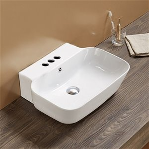 American Imaginations Wall-Mount Bathroom Sink - 20-in x 16.14-in - White