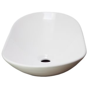 American Imaginations Vessel Bathroom Sink - Oval Shape - 24.2-in x 14.2-in - White