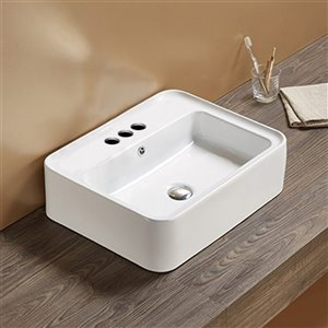 American Imaginations Vessel Bathroom Sink - Rectangular Shape - 20.9-in x 16.73-in - White