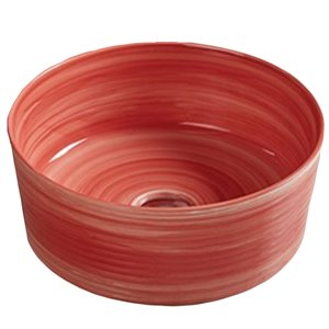 American Imaginations Vessel Bathroom Sink - Round Shape - 14.09-in x 14.09-in - Red