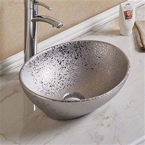 American Imaginations Vessel Bathroom Sink - Oval Shape - 15.94-in - Silver
