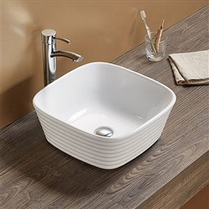 American Imaginations Vessel Bathroom Sink - Square Shape - 15.74-in x 15.74-in - White