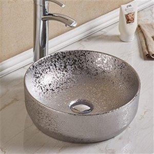 American Imaginations Vessel Bathroom Sink - Round Shape - 13.98-in x 13.98-in - Silver