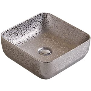 American Imaginations Vessel Bathroom Sink - Square Shape - 14.17-in x 14.17-in - Silver