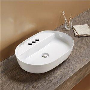 American Imaginations Vessel Bathroom Sink - Oval Shape - 24.41-in - White