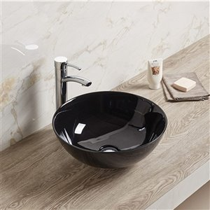 American Imaginations Round Vessel Bathroom Sink - without Overflow - 14.09-in x 14.09-in - Black