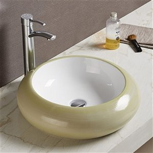 American Imaginations Vessel Bathroom Sink - Round Shape - 19.3-in - Beige/White