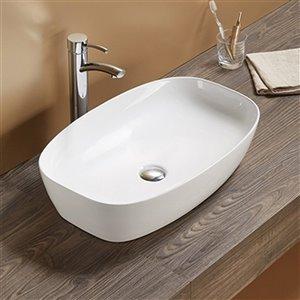 American Imaginations Vessel Bathroom Sink - Rectangular Shape - 23.62-in x 15-in - White