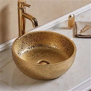American Imaginations Round Vessel Bathroom Sink - 16.14-in - Gold