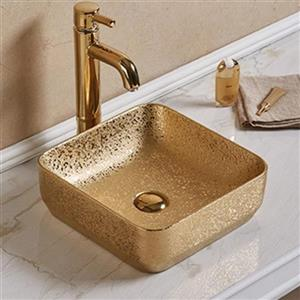 American Imaginations Vessel Bathroom Sink - Square Shape - 14.2-in x 14.2-in - Gold