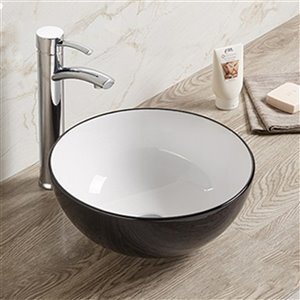 American Imaginations Round Vessel Bathroom Sink - 14.09-in x 14.09-in - Black