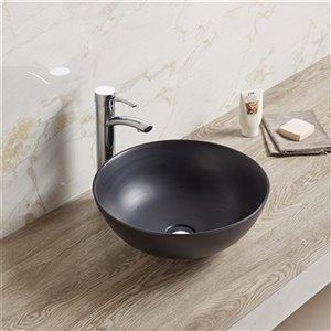American Imaginations Vessel Bathroom Sink - Round Shape - 16.34-in - Black