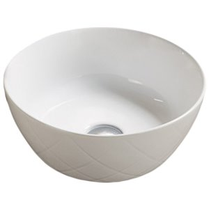 American Imaginations Vessel Bathroom Sink - Round Shape - 16.34-in x 16.34-in - White