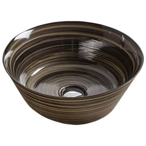 American Imaginations Vessel Bathroom Sink - Round Shape - 15.94-in - Black