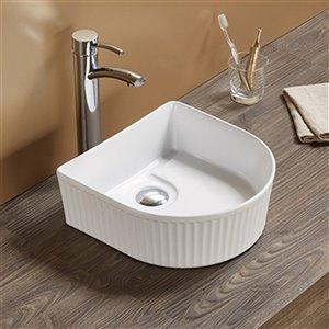 American Imaginations Vessel Bathroom Sink - Irregular Shape - 13.85-in x 13.66-in - White