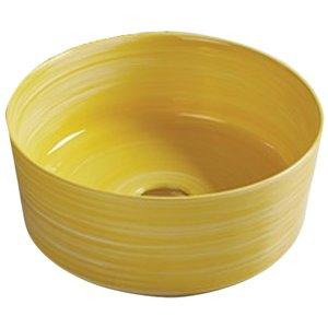 American Imaginations Vessel Bathroom Sink - Round Shape - 14.09-in x 14.09-in - Yellow