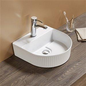 American Imaginations Vessel Bathroom Sink - Half-Moon - 15.74-in x 15.74-in - White