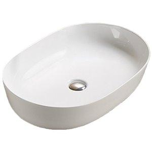 American Imaginations Vessel Bathroom Sink - 23.62-in x 16.34-in - White