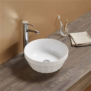 American Imaginations Vessel Bathroom Sink - Round Shape - 14.09-in x 14.09-in - White