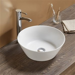 American Imaginations Vessel Bathroom Sink - Round Shape - 15.94-in - White