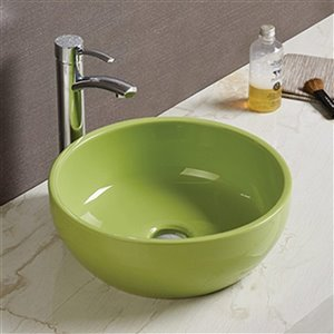 American Imaginations Vessel Bathroom Sink - Round Shape - 16.14-in - Green