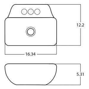 American Imaginations Vessel Bathroom Sink - Rectangular Shape - 16.34-in x 12.2-in - White
