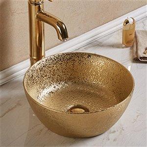 American Imaginations Vessel Bathroom Sink - Round Bowl - 14.09-in - Gold